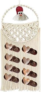 Ornahom 编织挂发夹收纳盒,带圣诞老人波西米亚墙壁装饰蝴蝶结夹