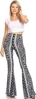 SWEETKIE 波西米亚喇叭裤,弹性腰围,女式阔腿裤,纯色和印花,弹性柔软 *蓝 Stone 8191v Medium