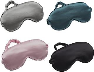 LERSVICVIL *眼罩 4 件装丝绸眼罩柔软缎面暗扣可调节肩带夜用眼罩旅行午睡 适合女士男士