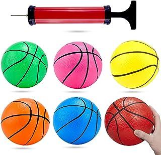 Shindel 6 英寸(约 15.2 厘米)迷你玩具篮球,6 件幼儿篮球,彩色儿童迷你玩具篮球橡胶篮球,适合儿童、青少年篮球,带泵