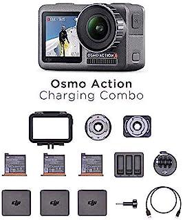 DJI Osmo 动作充电组合 – 数码相机带配件套件,双屏幕,防水高达11米,集成稳定,4K HDR 100 Mbps 的照片和视频 – 黑色