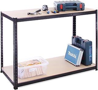 120cm Wide, 60cm deep, 90cm High, Black Garage Shed Racking Storage Workbench, 5 Year Warranty, 300KG Per Shelf Capacity