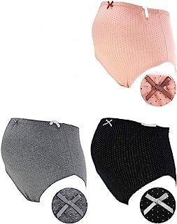 7309 玫瑰太太 亲肤 孕妇内裤 超值3条装 *棉 C-ピンクドット、グレードット、ブラックドット マタニティL-LL