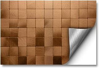 funlife 自粘壁纸可拆卸天花板瓷砖贴花防水金属马赛克后防溅板即剥即贴瓷砖适用于厨房 39.94 厘米 X 60.96 厘米 1 件拉丝铜