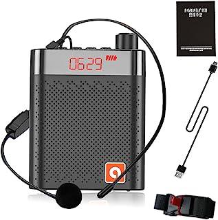 智能 UFA 扩音器,大容量麦克风耳机放大器,便携式扬声器录音,适用于课堂会议 演讲 户外 (黑色)