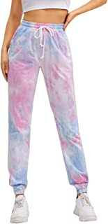 MakeMeChic 女式扎染抽绳腰带运动裤 运动口袋长裤 慢跑裤
