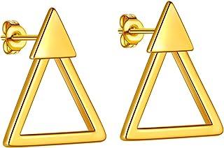 Beautlace 双三角耳钉 18K 金/银/黑色镀金几何极简耳环耳钉首饰男女适用 KE0028