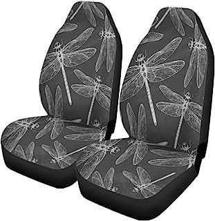 Pinbeam 汽车座套抽象蜻蜓和花朵黑板动物粉笔板黑板 2 件套汽车配件保护汽车装饰通用适用于汽车卡车 SUV