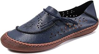 Trsorini 女式休闲乐福鞋舒适平底镂空雕刻皮革一脚蹬女鞋适合女士黑色棕色驾驶散步购物户外连衣裙