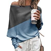 utcoco 女式休闲宽松露肩撞色蝙蝠袖套头运动衫束腰套衫