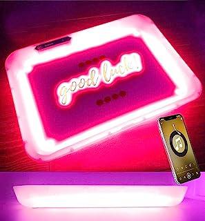 LED 滚动托盘 - 蓝牙扬声器发光托盘 - 灯光与音乐跳舞 - 6 种颜色模式可充电音乐主题生日派对,乐趣,复活节(L11W8.2 英寸,白色)