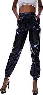 Giovacker 女式金属闪亮休闲裤全息慢跑运动裤朋克嘻哈裤街头服装