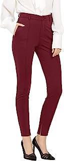 Allegra K 女式工作纯色细褶直筒高腰开叉下摆长裤