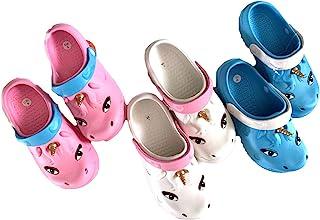 女孩儿童角蓝白色粉色洞洞鞋-尺码 12-4(儿童,蓝色/白色,数字_12)