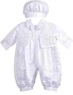 Lito Angels 男婴洗礼服装连衫裤正装刺绣十字背心 3 件套 007