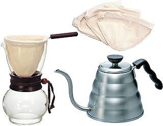 Hario水壶,滴水壶,木质水壶口和3个额外过滤器(共4个过滤器)