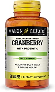 Mason Natural 蔓越莓含有益生菌和添加维生素C和钙片,60粒,膳食补充剂