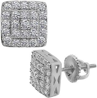 真品实心 925 银制冰钻石耳环螺旋式男士和女士方形 1/3 英寸嘻哈 ICY