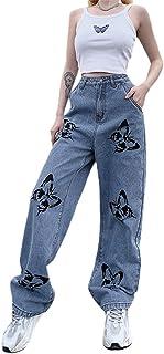 女式青少年经典高腰宽松直筒牛仔裤蝴蝶/爱心印花修身宽松牛仔裤带口袋