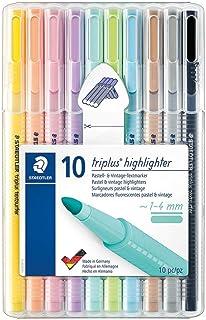Staedtler 362 CSB10 记号笔 triplus 荧光笔(符合人体工程学的三角形 高品质 一套 10 种柔和复古颜色 线宽 1 - 4 毫米)