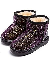 techcity 男孩女孩冬季保暖雪地靴亮片毛皮衬里防水靴闪光公主户外鞋(幼儿/小童)