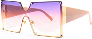 STORYCOAST 女式方形超大太阳镜时尚暹罗镜片豪华金属铆钉防护罩 UV400