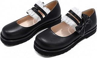 Odetina 女式蝴蝶结蕾丝玛丽珍平底鞋洛丽塔鞋系带心形可爱鞋