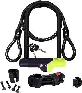 LJ LihJaw 自行车 U 型锁带支架,重型自行车锁组合,硬化钢U锁,U型锁滑板车,*电缆自行车锁,U型锁摩托车,自行车锁,小巧自行车锁