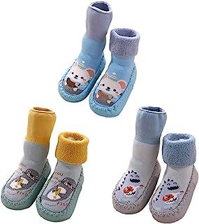 3 双装婴儿拖鞋袜带抓地力,适合幼儿男孩女孩防滑动物软帮靴保暖