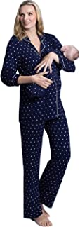 Angel 孕妇家居服睡衣套装哺乳护理上衣,裤子 + 婴儿毯包装,*蓝波尔卡圆点