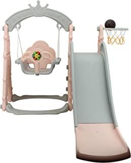 Sweety Toys 12701 秋千和滑梯玩具套装 3 合 1 产品粉红色 带篮球篮 Eifelturm设计