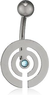 Pure Grey 中性香蕉叉德国制造肚脐穿孔钛锆石蓝色明亮切割 - 珠宝Eternitybells 10 AQ