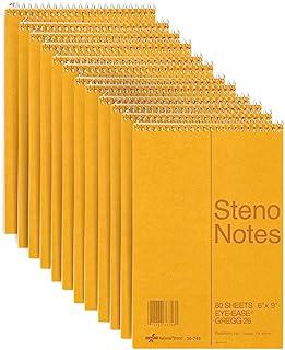 National Brown Board Cover Steno 笔记本,格雷格格格尺,*易撕纸,80 张,15.24 x 23.5 x 15.24 厘米,12 件装 (36746-12)