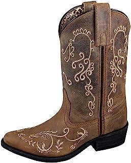 Smoky Mountain 儿童 Jolene 拉式刺绣尖头棕色打蜡的奇毛靴
