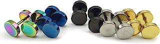 Honbay 5 对不锈钢中性款男式女式 Barbell 耳钉 隧道 朋克风格 耳钉 耳钉 8mm EARINGS-BARBELL-5PAIR