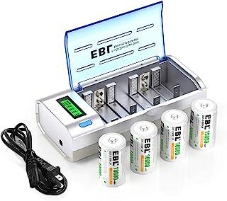 EBL D Cells 10000mAh 可充电电池(4 个)带 C D 9V AA AAA 电池充电器