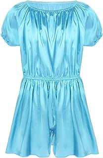 easyforever 男式短袖柔软闪亮褶边绸缎正装裤睡衣 少女睡衣 Sissy 内衣