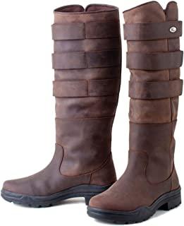 Rhinegold Elite Colorado 长款皮革乡村步行稳定马术靴 - 完全可调节腿宽