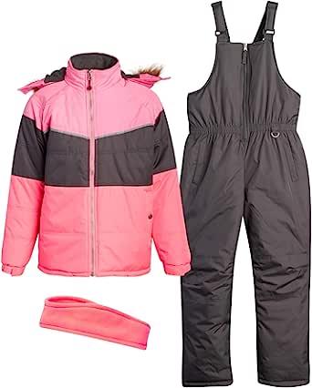 Pink Platinum 女童防雪服 - 防水冬季滑雪夹克,带人造皮饰边连帽和雪裤整体套装(幼儿/女孩)