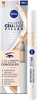NIVEA 妮维雅 Hyaluron Cellular Filler 3合1 眼部护理 遮瑕膏 4 毫升 含透明质酸 保护笔 适用于眼圈 *和粉刺