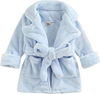 幼儿女婴羊毛浴袍袍袍 冬季秋季 0-5T 儿童女孩柔软毛巾加浴袍