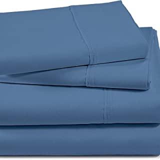 Lavish Touch 棉竹 500 支,柔软丝滑,透气床单 4 件套 尼亚加拉皇后蓝