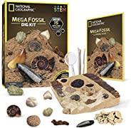 NATIONAL GEOGRAPHIC Mega Fossil Dig Kit – Excavate 15 real fossils including Dinosaur Bones, Mosasaur & Sh