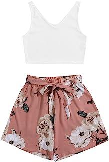 SweatyRocks 女式罗纹针织 2 件套套装背心和腰带短裤套装