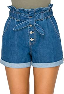Action Ward 女式高腰牛仔纸袋短裤