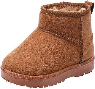 WUIWUIYU 儿童男孩女孩户外保暖毛皮衬里冬季雪地靴及踝靴幼儿小孩