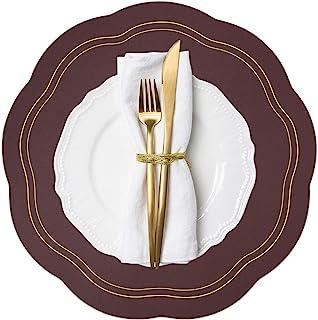 酒红色餐垫 4 件套,圆形 PU 皮革餐垫室内,庭院桌夏季户外餐垫,可水洗可擦拭餐桌垫适用于 7 月 4 日感恩节圣诞节派对家居装饰