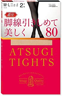 Atsugi 连裤袜 Atsugi Tights 压力 80D 优质基础美丽 拉伸 脚踝9hPa 80D <2双装> 女士 FP10282P