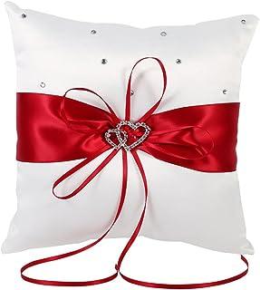 Fockety 戒指枕头,双心形钻石戒指枕头,婚礼戒指枕头,酒店婚礼家庭床(红色)