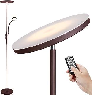 LED 落地灯 - Soarz Torchiere 落地灯,带可调节阅读灯,2000流明主灯和400流明侧阅读灯,适用于客厅、卧室、办公室,遥控工作(棕色)